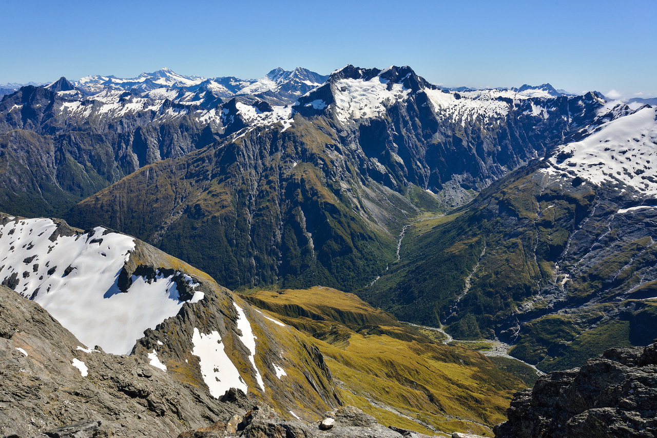 View from the summit of Mt Awful - Mt Aspiring, Pollux, Castor, Mt Alba and the Siberia valley head