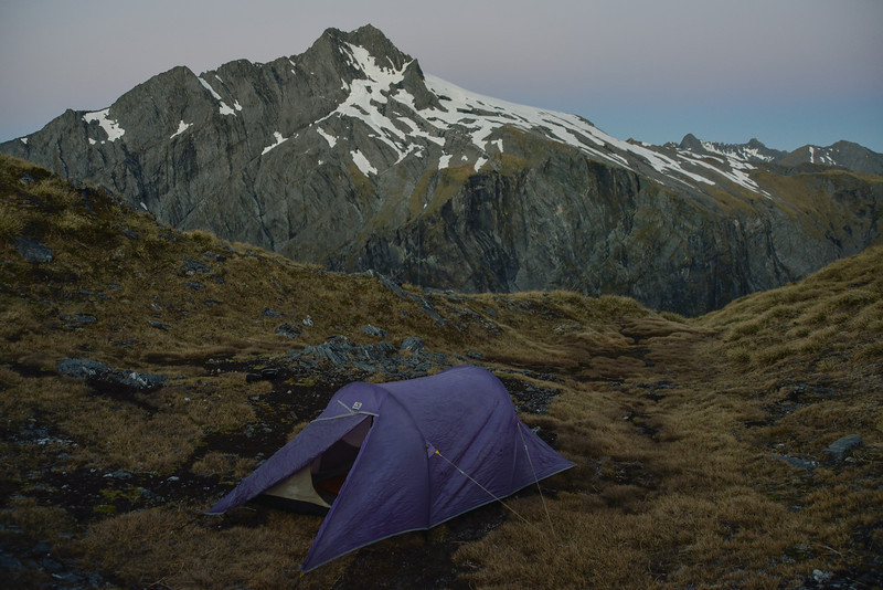 Campsite on Gillespie Pass. Unnamed Peak pt 2026m behind