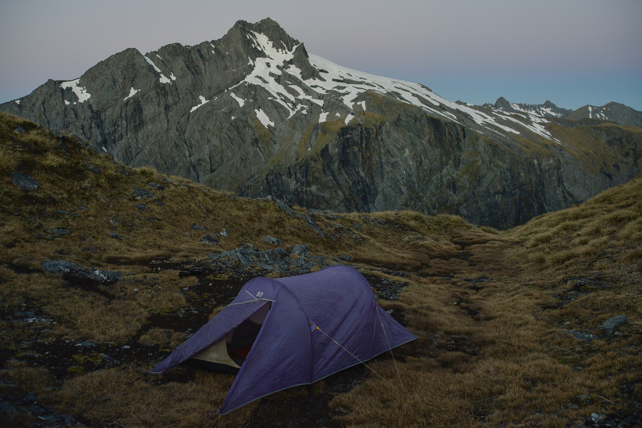 Campsite on Gillespie Pass. Unnamed Peak pt 2026m behind