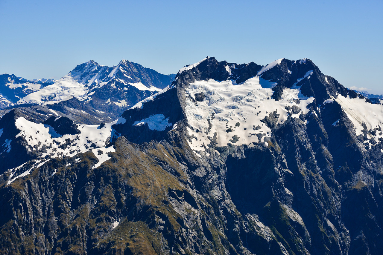 View from the summit of Mt Awful - Pollux, Castor and Mt Alba