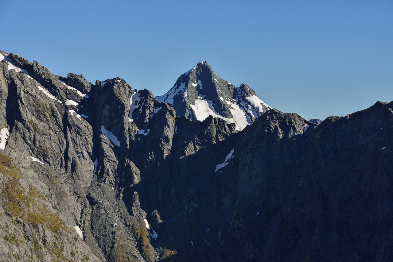 Young Peak poking above the east ridge of Mt Awful, from Gillespie Pass