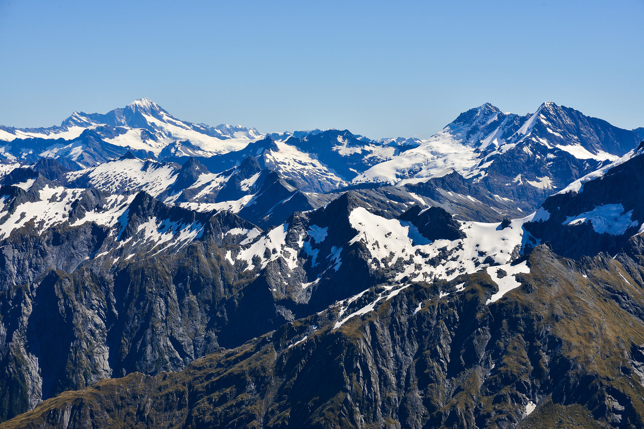 View from the summit of Mt Awful - Mt Aspiring, Pollux and Castor