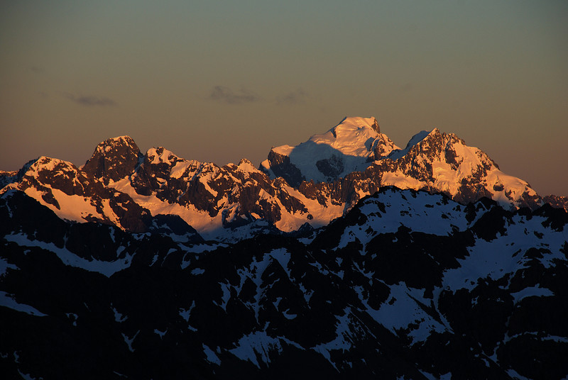 Sunrise on the Darran Mountains: Mt Te Wera, Mt Tutoko, Mt Madeline