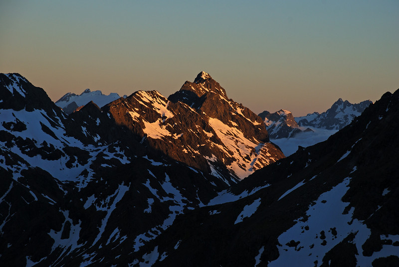 View from the west ridge of Mount Bonpland: Upper Peak at sunrise