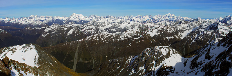 Darran Mountains panorama from the north ridge of Mount Bonpland