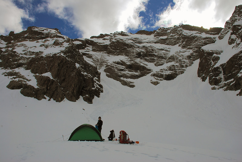 Campsite on the Bryant Glacier moraine. Mount Bonpland above