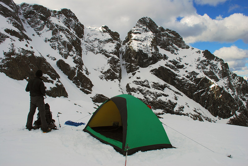 Campsite on the Bryant Glacier moraine, Glacier Burn