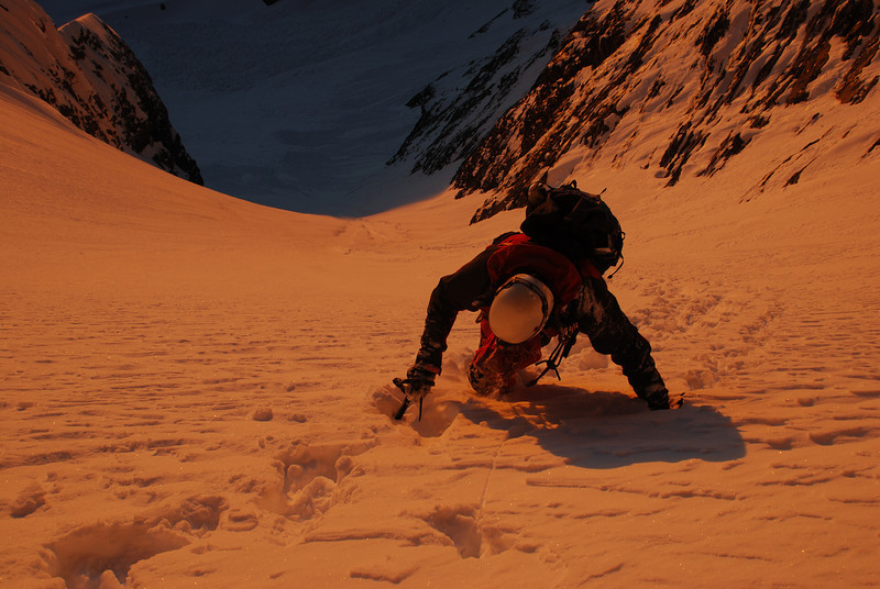 Climbing the couloir on Mount Bonpland