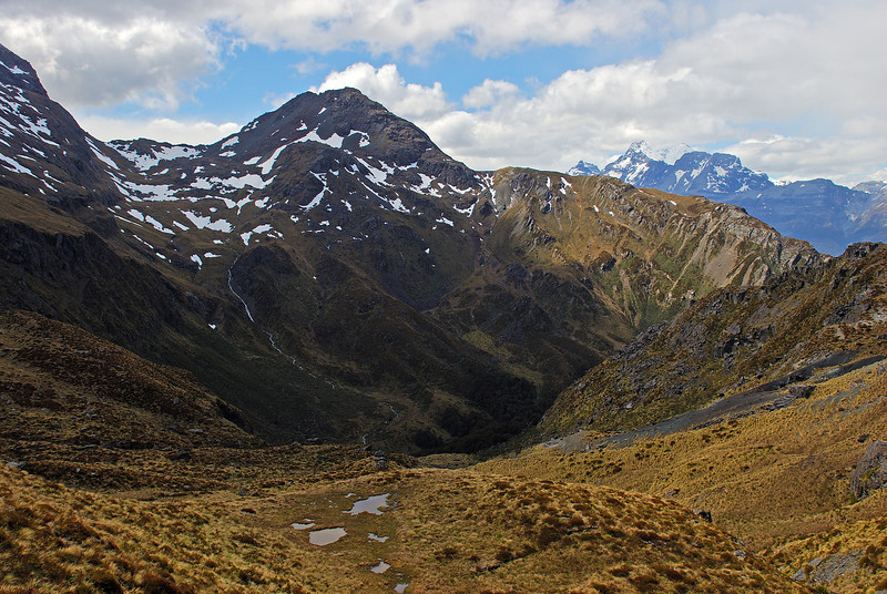 Looking into the north branch of Scott Creek (left) and Mount Earnslaw (right). Unnamed Peak 1736m at centre image