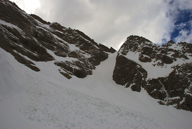 Mount Bonpland couloir. War zone!