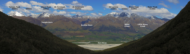 View down the Glacier Burn. The Richardson Mountains across the Dart River