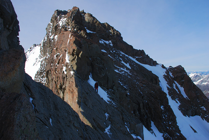 The rock step that turned us back on the north ridge of Mount Bonpland