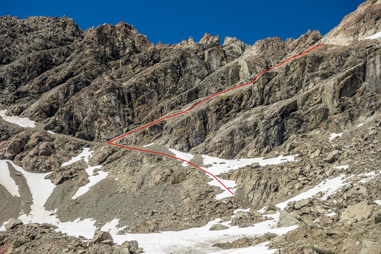 Mount Bonpland route topo 1 - bypassing the gendarmes west of Pt 2195m