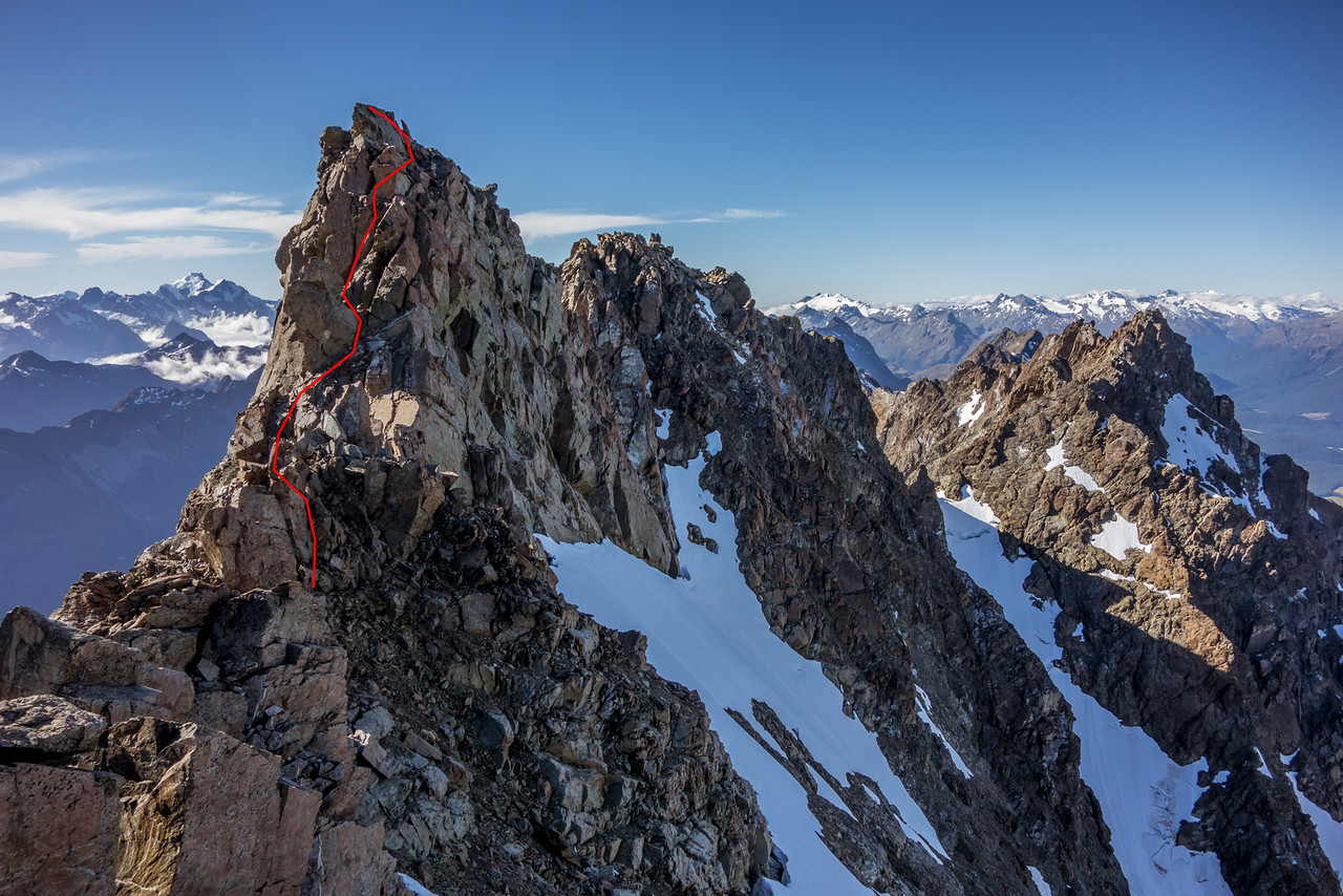 Mount Bonpland route topo 3 - from the southern false summit to the high peak