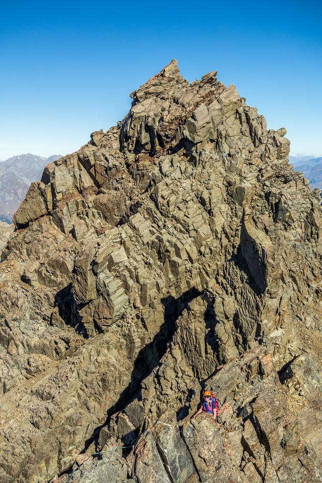 On the south-east ridge of Mount Bonpland, just beyond the gendarmes.