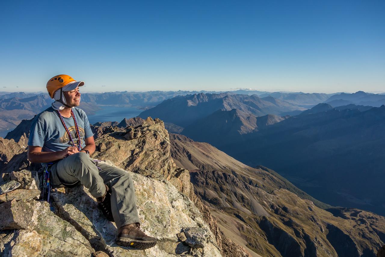 On the summit of Mount Bonpland; Lake Wakatipu in the background.