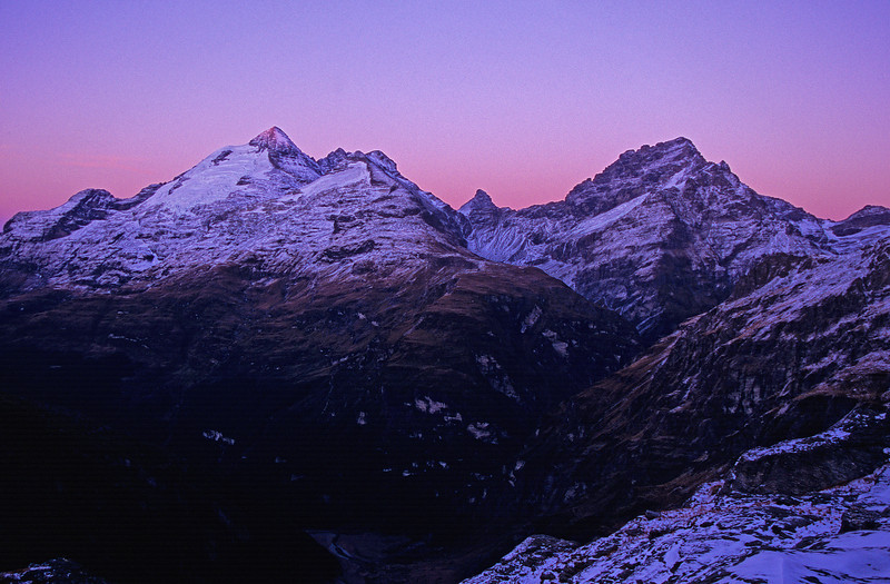 Mount Earnslaw, Pluto Peak and Sir William Peak at dawn