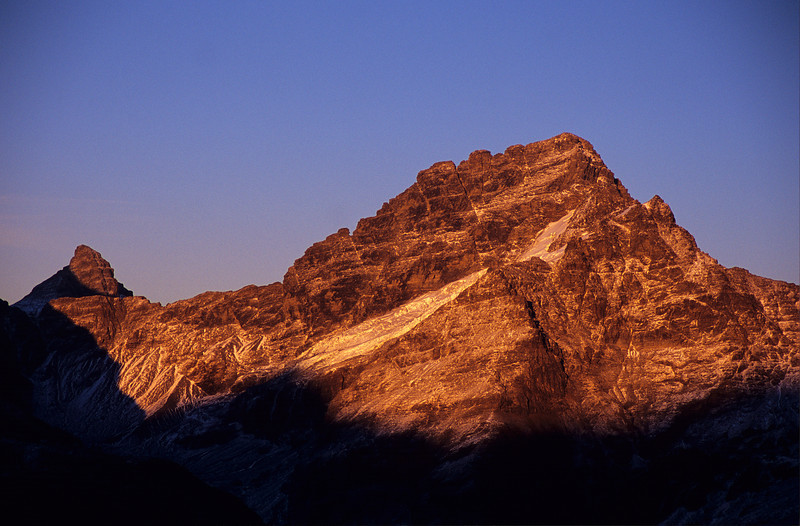 Sunrise on Pluto Peak and Sir William Peak