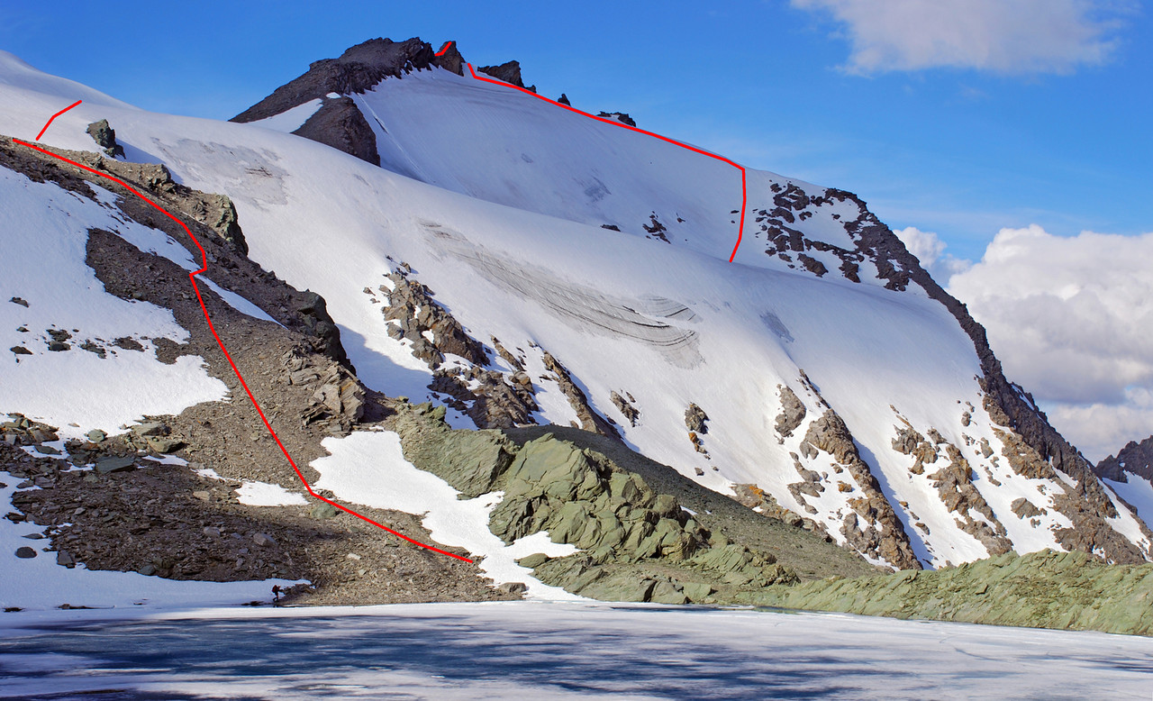 Mount Ferguson south face, with our route up the mountain