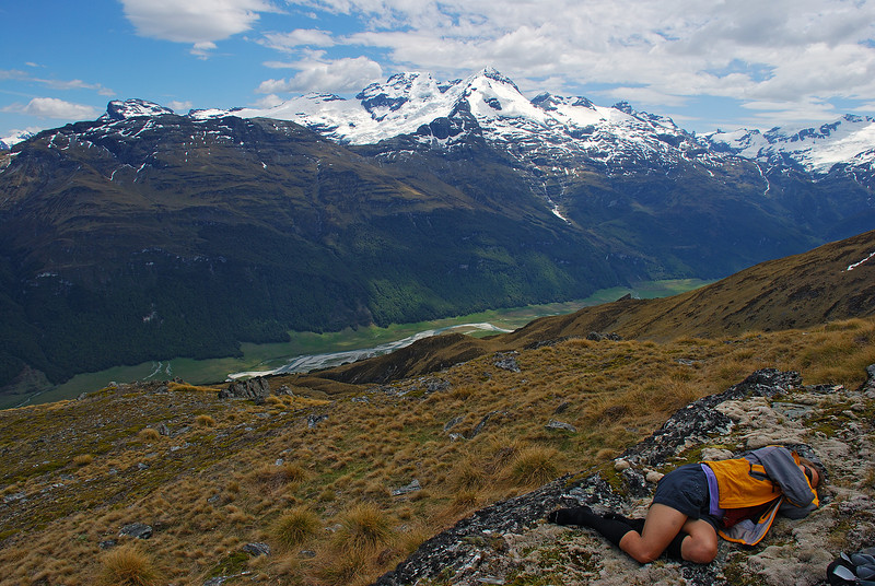 Taking a nap on Broad Spur. Mount Earnslaw at centre image.