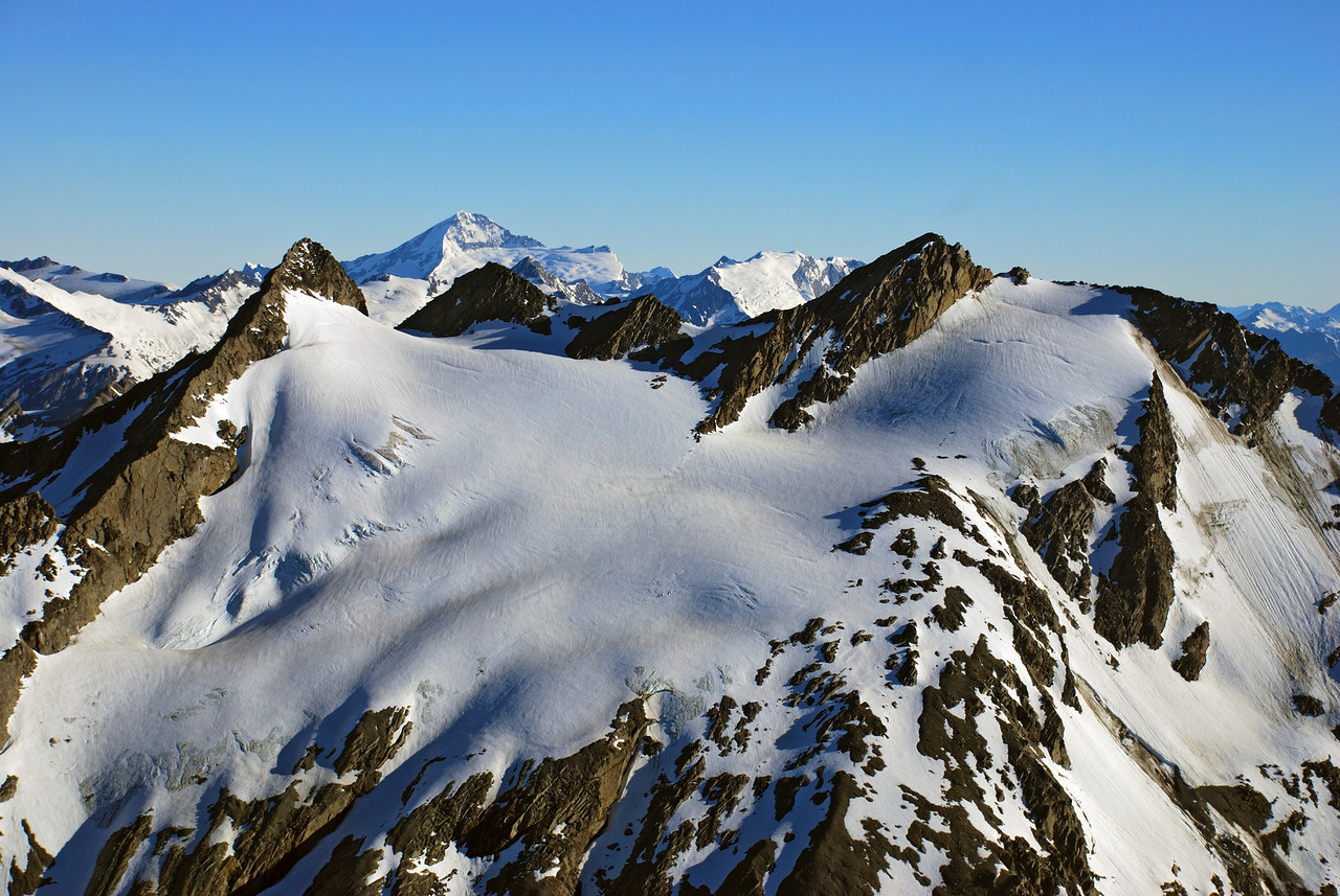 Centaur Peaks. Mount Aspiring and Rob Roy Peak behind