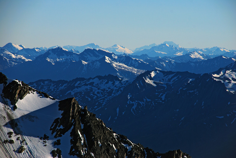 View from Mount Ferguson: Mount Hooker, Mount Dechen, Mount Tasman, Mount Cook