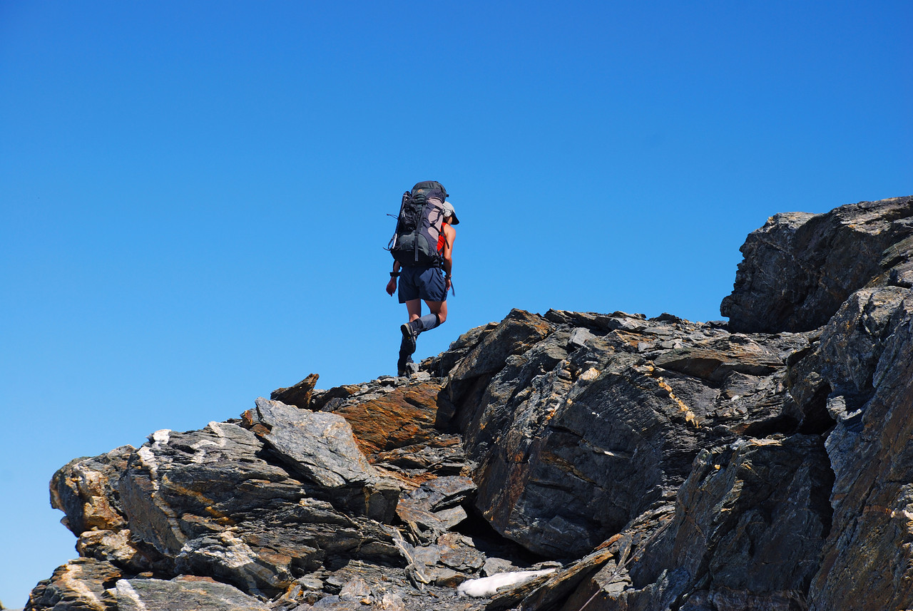 On the saddle between Mount Ferguson and unnamed peak 2393m