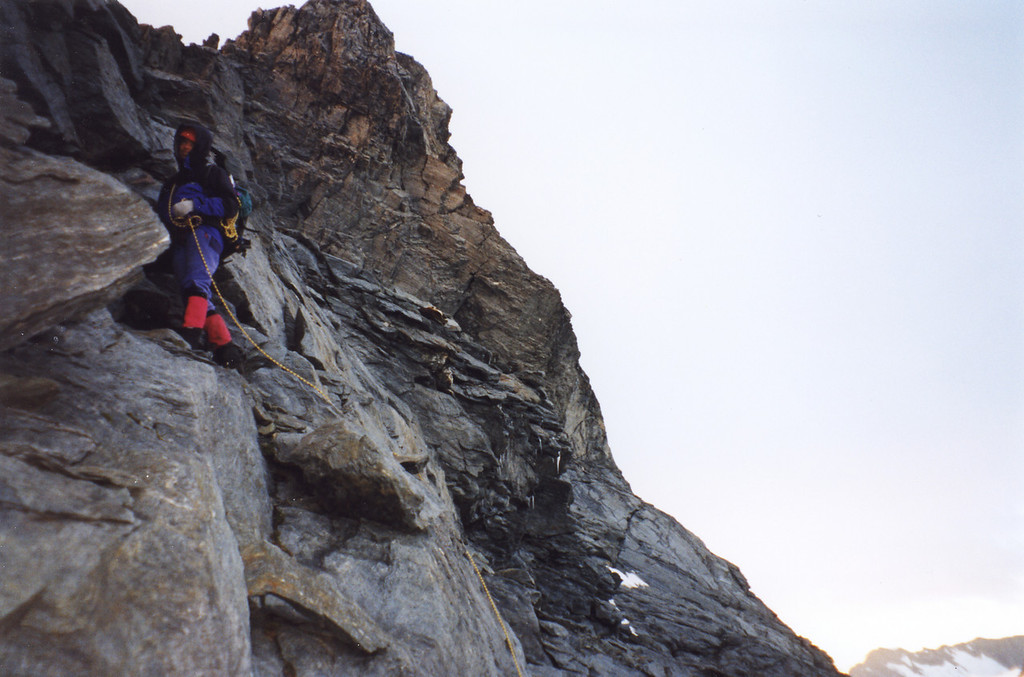 Me climbing the buttress on Aspiring's NW ridge. Photo Jeff Chichester