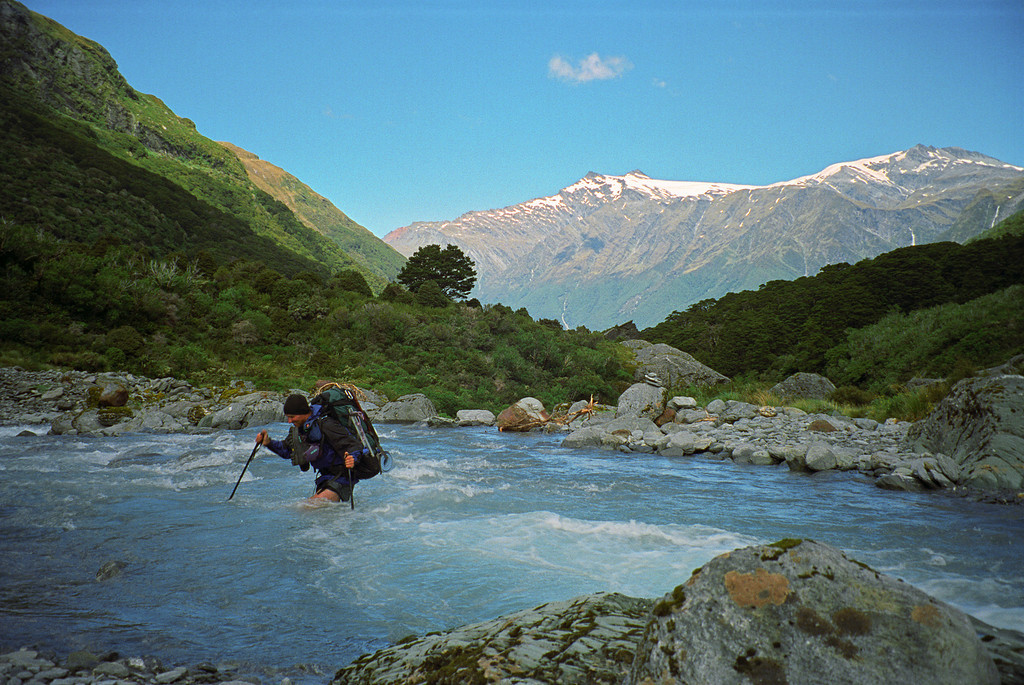Fording the West Matukituki River. Mt Tyndall and Mt Anstead in the background