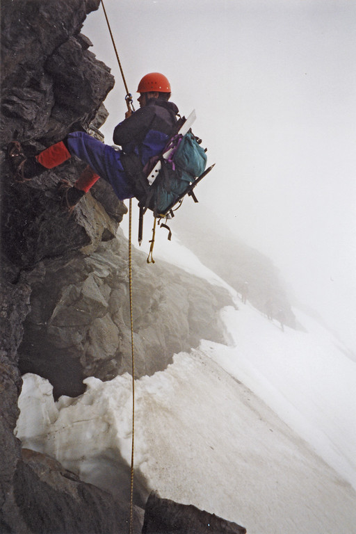 Abseiling onto the Bonar Glacier. Photo Jeff Chichester
