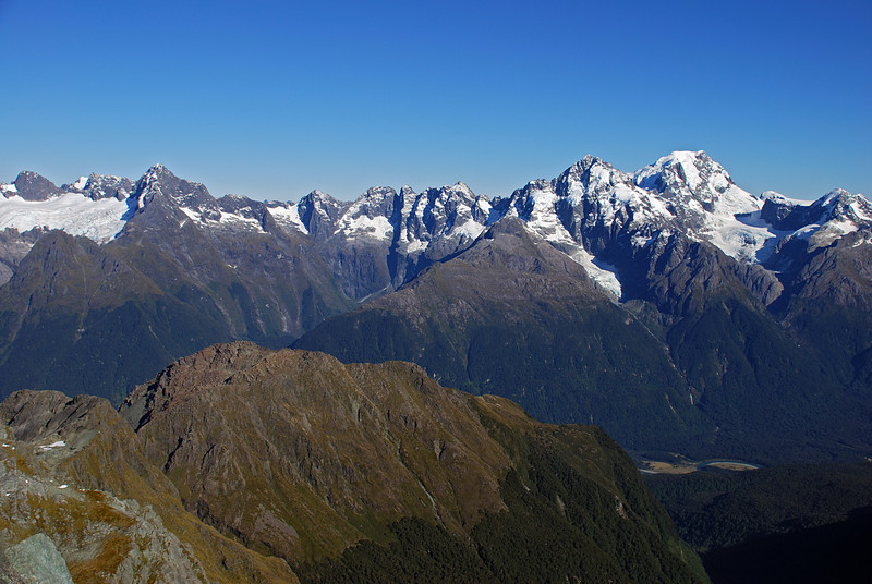 The Central Darrans between the Te Puoho Glacier (left) and Alice Peak (right) from Nereus Peak