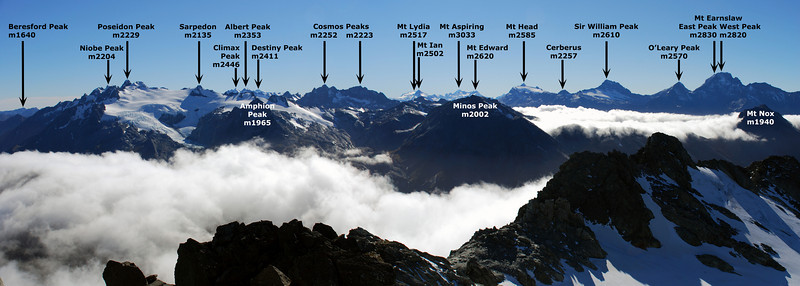 Park Pass Glacier and the Forbes Mountains from the summit of Nereus Peak