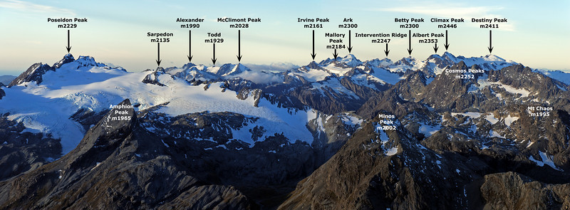 Park Pass Glacier and the Olivine Range from the summit of Somnus