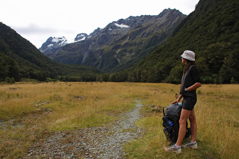 Heather in the Routeburn Flats. Somnus and Momus above