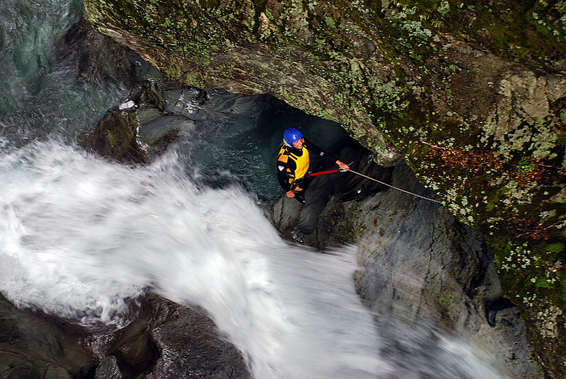 A guided party starts their canyoning trip down Bridal Veil Stream, Routeburn Track