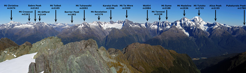 The Darran Mountains from the summit of Nereus Peak