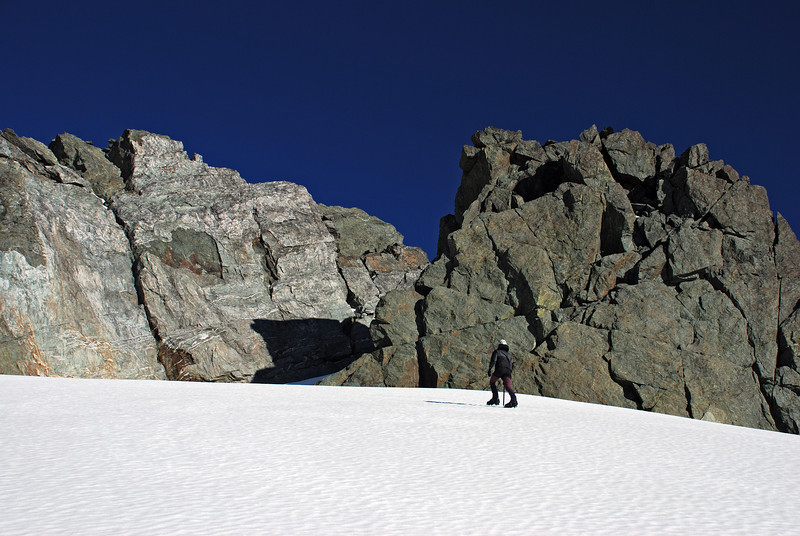 Heather approaching the summit of Nereus Peak