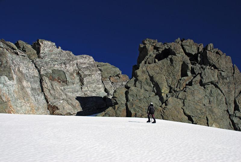 Heather approaching the summit of Nereus Peak