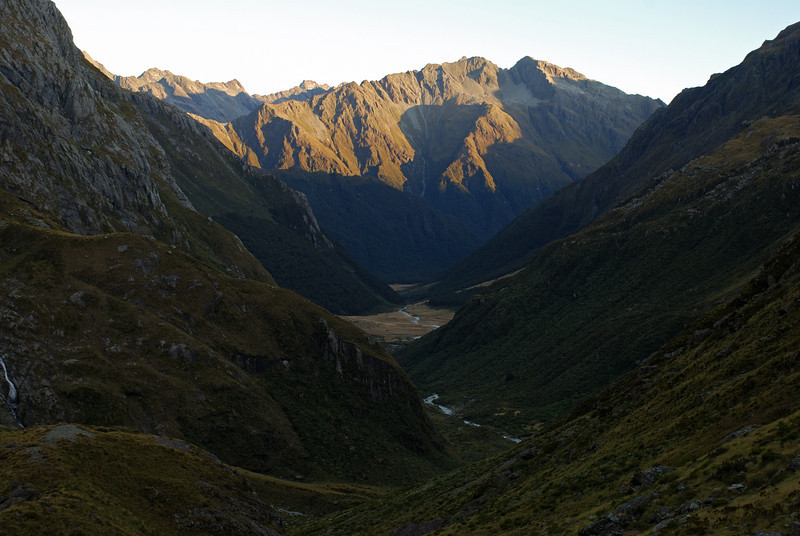 Looking down the North Routeburn. Unnamed peaks 1942m and 1952m in the back.