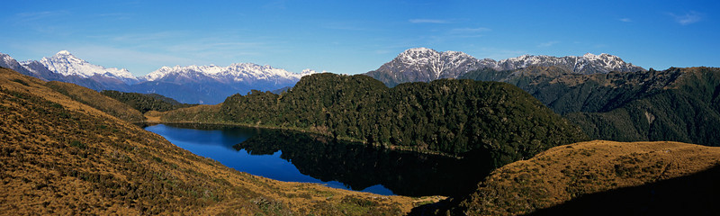 Lake Leeb. Mt Aspiring (left), Dagon and Collier (right) in the background.