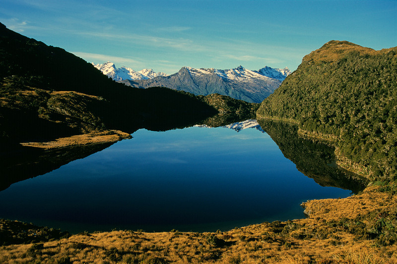 Lake Clarke. Munro Peak and the Haast range north of Fingals Head in the background.