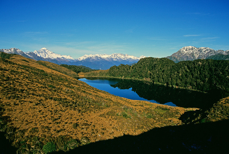 Lake Leeb. Mt Aspiring (left) and Dagon (right) in the background.