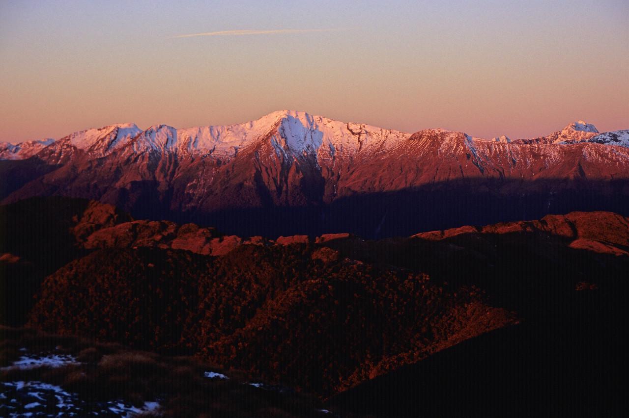 Haast Range at sunset