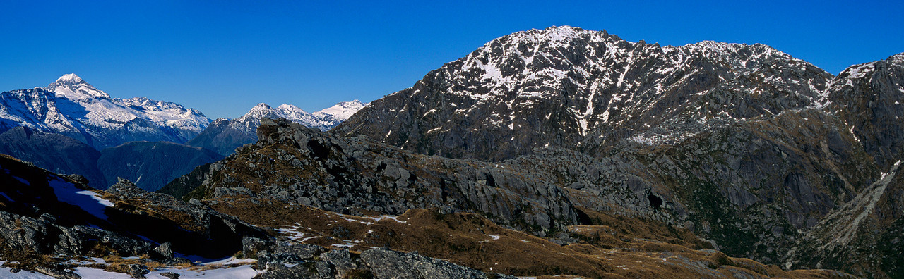 On the ridge sout of Mt Lindsay. Mt Aspiring and Dagon.