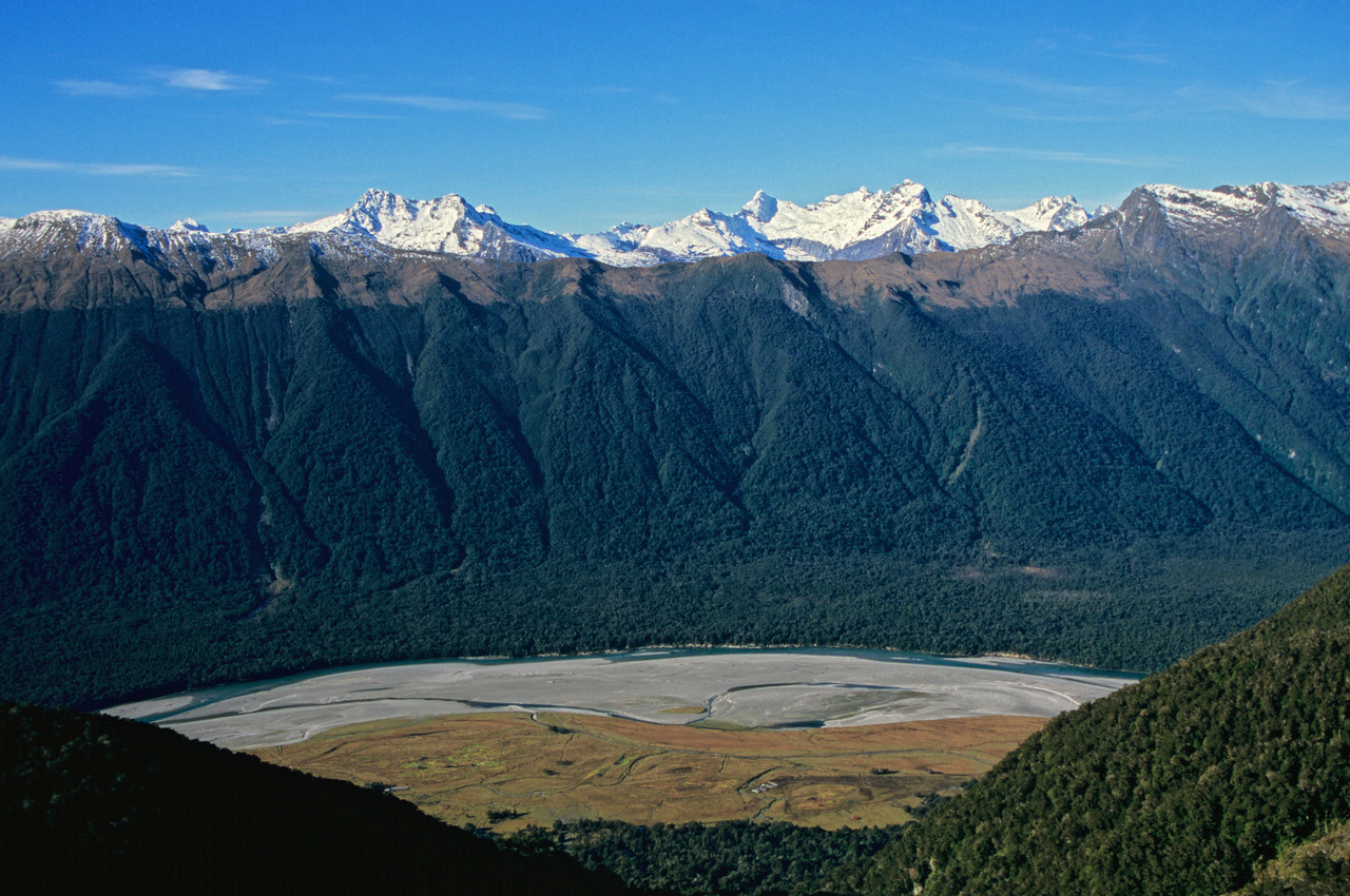 Arawhata River. Rosy and Sombre Peaks (left), Pollux and Castor (right) in the background