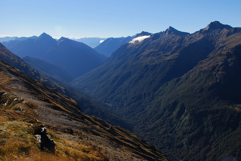 The Ngatau River from the Browning Range. Mt Victor and Mt Action are on the left; Mt Actor, Eyetooth and Misty Peak on the right