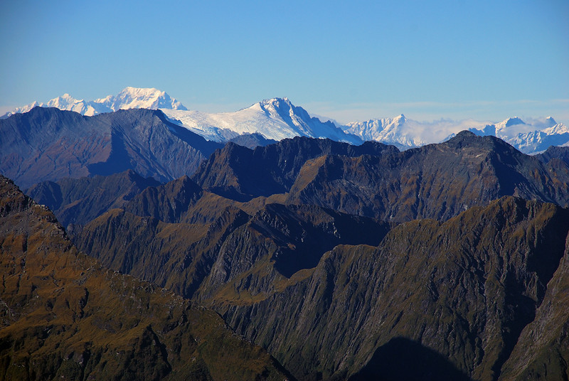 Mt Tasman, Mt Cook and Mt Hooker from the top of Mt Franklin