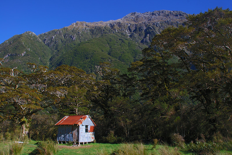 Turnbull River hut aka dump-hole, at the toe of the Harris Faces, Selborne Range