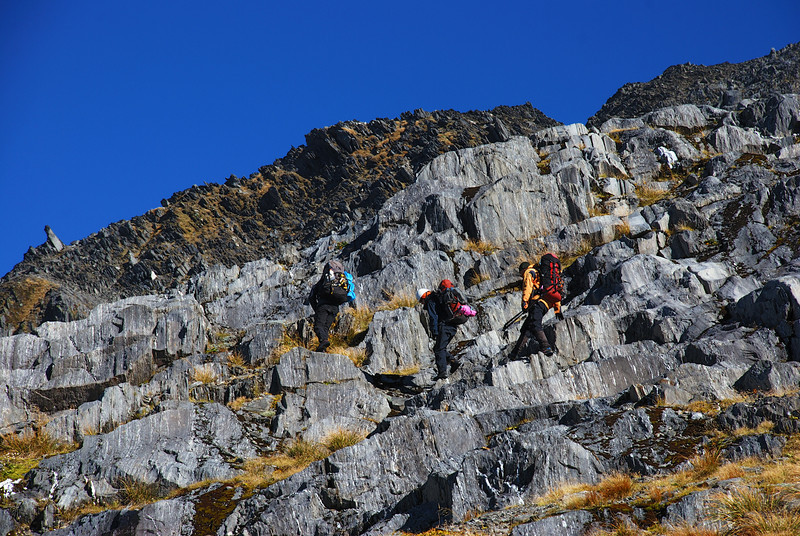 Moving on rocky terrain towards Mt Franklin, Browning Range