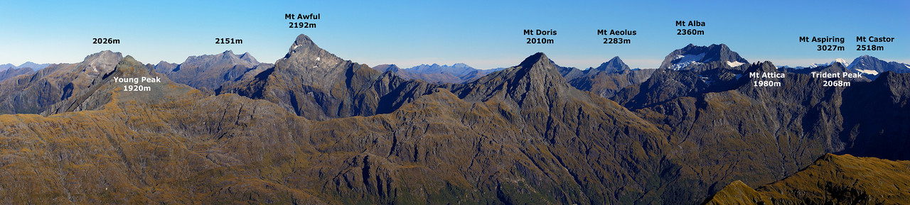 Panorama from the summit of Mt Franklin, Browning Range, looking south